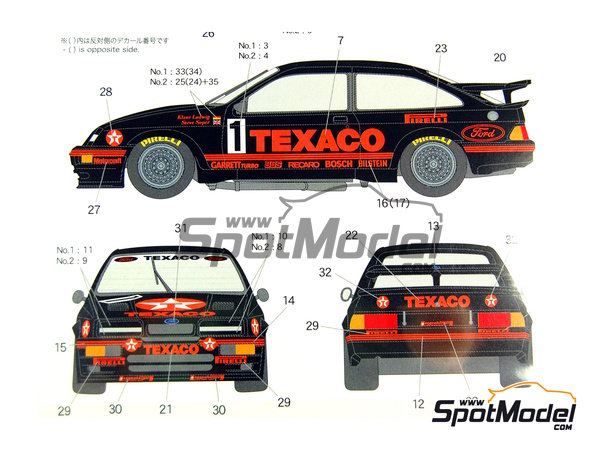 Image 2: Ford Sierra Eggenberger RS500 Group A Texaco - European Touring Car Championship ETCC 1988 | Marking / livery in 1/24 scale manufactured by Shunko Models (ref. SHK-D162)