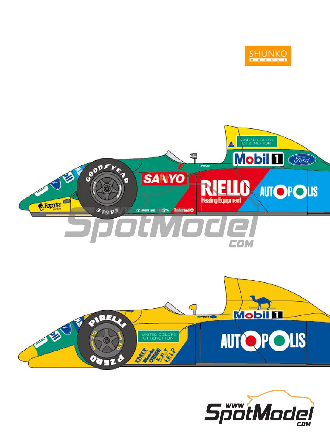 Benetton Ford B190 / B190B Autopolis Camel - Japanese Formula 1 Grand Prix, USA Formula 1 Grand Prix 1990 | Marking / livery in 1/24 scale manufactured by Shunko Models (ref. SHK-D180) image