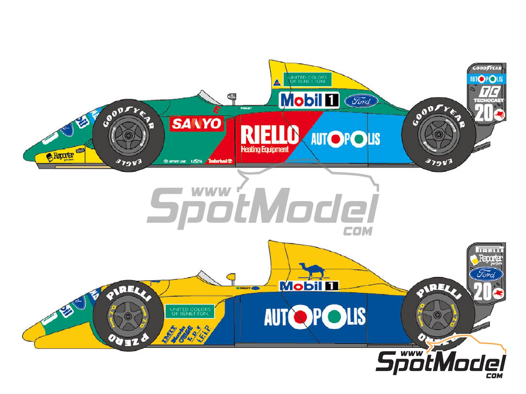 Image 1: Benetton Ford B190 / B190B Autopolis Camel - Japanese Formula 1 Grand Prix, USA Formula 1 Grand Prix 1990 | Marking / livery in 1/24 scale manufactured by Shunko Models (ref. SHK-D180)