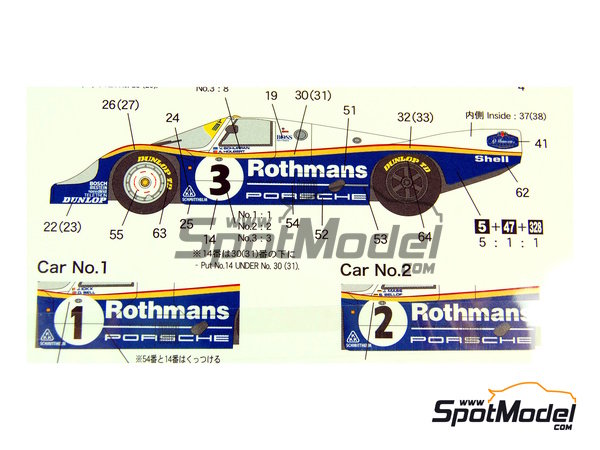 Image 2: Porsche 956 Works Team Rothmans - 24 Hours Le Mans 1983 | Marking / livery in 1/24 scale manufactured by Shunko Models (ref. SHK-D200)