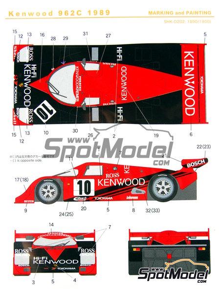 Porsche 962C Kenwood - Copa GT de Japon JGTC 1989 | Decoración en escala1/24 fabricado por Shunko Models (ref.SHK-D202) image