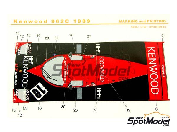 Image 7: Porsche 962C Kenwood - Copa GT de Japon JGTC 1989 | Decoración en escala1/24 fabricado por Shunko Models (ref.SHK-D202)
