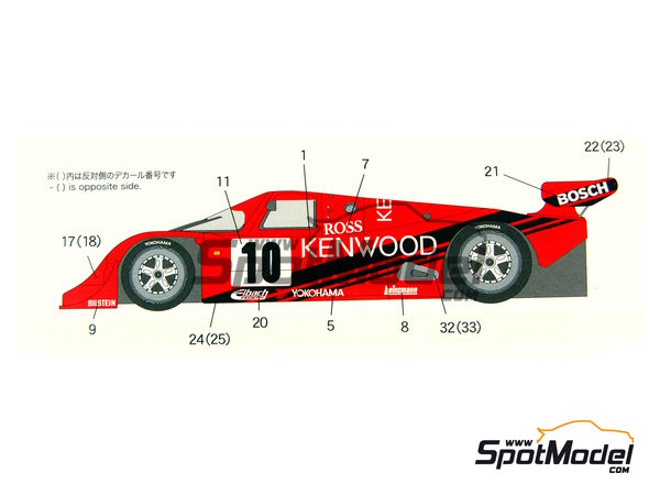 Image 8: Porsche 962C Kenwood - Copa GT de Japon JGTC 1989 | Decoración en escala1/24 fabricado por Shunko Models (ref.SHK-D202)