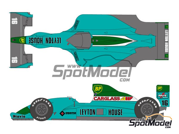 Image 1: Leyton House Judd CG901 - FIA Formula 1 World Championship 1990 | Marking / livery in 1/20 scale manufactured by Shunko Models (ref. SHK-D211)