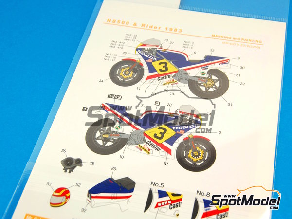 Image 7: Honda NS500 Castrol - Motorcycle World Championship 1983 | Marking / livery in 1/12 scale manufactured by Shunko Models (ref.SHK-D219)