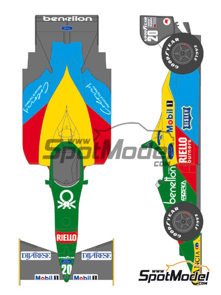 Benetton Ford B188 - FIA Formula 1 World Championship 1988 | Marking / livery in 1/20 scale manufactured by Shunko Models (ref. SHK-D221) image