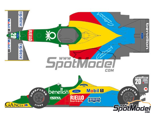 Image 1: Benetton Ford B188 - FIA Formula 1 World Championship 1988 | Marking / livery in 1/20 scale manufactured by Shunko Models (ref. SHK-D221)