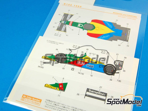 Image 6: Benetton Ford B188 - FIA Formula 1 World Championship 1988 | Marking / livery in 1/20 scale manufactured by Shunko Models (ref. SHK-D221)