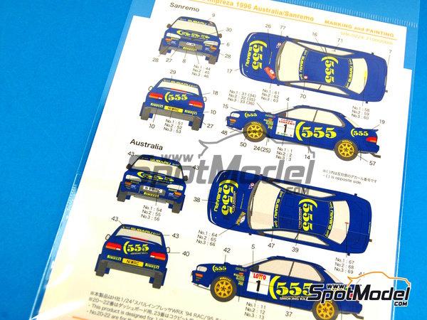 Image 2: Subaru Impreza WRX 555 - Rally de Australia, Rally de San Remo 1996 | Calcas de agua en escala1/24 fabricado por Shunko Models (ref.SHK-D224)