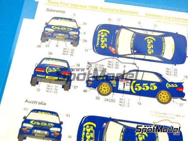 Image 3: Subaru Impreza WRX 555 - Rally de Australia, Rally de San Remo 1996 | Calcas de agua en escala1/24 fabricado por Shunko Models (ref.SHK-D224)