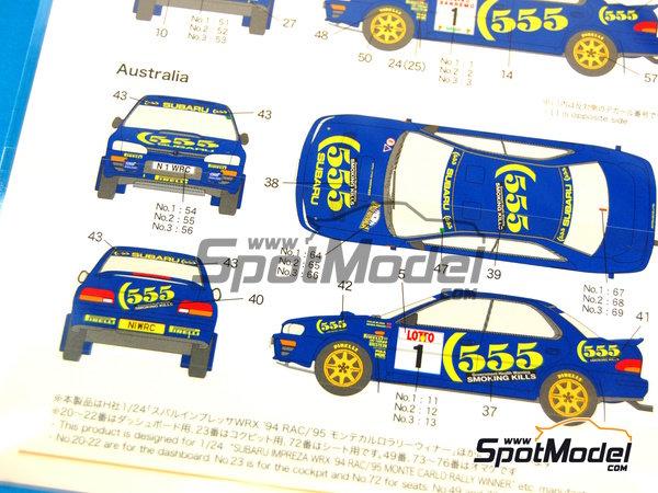 Image 4: Subaru Impreza WRX 555 - Rally de Australia, Rally de San Remo 1996 | Calcas de agua en escala1/24 fabricado por Shunko Models (ref.SHK-D224)