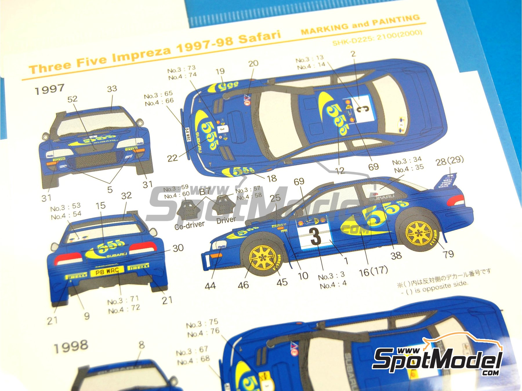 Image 3: Subaru Impreza WRC 555 - Safari Rally 1997 and 1998 | Marking / livery in 1/24 scale manufactured by Shunko Models (ref. SHK-D225)