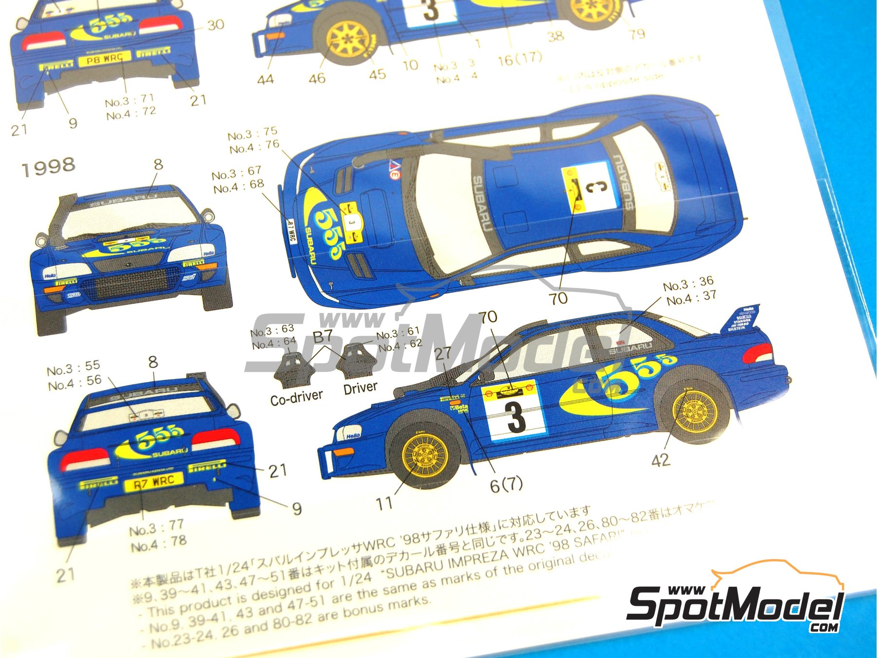 Image 4: Subaru Impreza WRC 555 - Safari Rally 1997 and 1998 | Marking / livery in 1/24 scale manufactured by Shunko Models (ref. SHK-D225)
