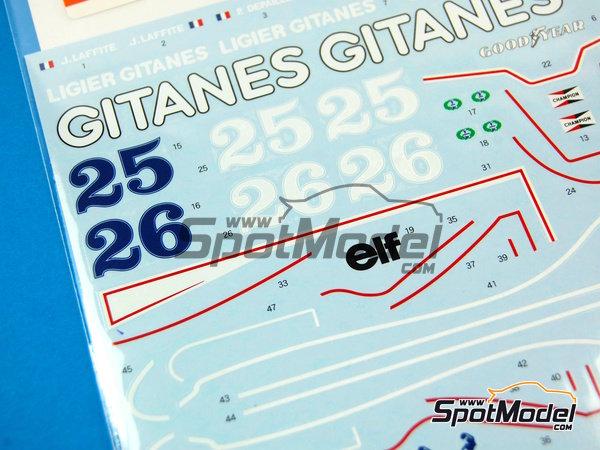Image 3: Ligier JS11 Gitanes - Campeonato del Mundo de Formula1 1979 | Decoración en escala1/20 fabricado por Shunko Models (ref.SHK-D232)