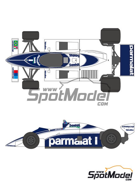 Brabham BT50 Parmalat - Campeonato del Mundo 1982 | Decoración en escala1/20 fabricado por Shunko Models (ref.SHK-D237) image