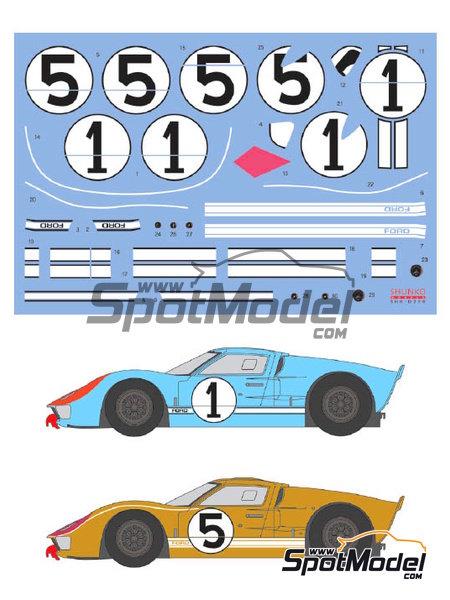 Ford GT40 Mk II - 24 Horas de Le Mans 1966 | Decoración en escala1/24 fabricado por Shunko Models (ref.SHK-D250) image