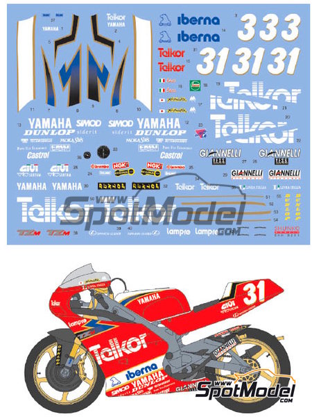 Yamaha TZ250M Telkor - Motorcycle World Championship 1993 | Marking / livery in 1/12 scale manufactured by Shunko Models (ref. SHK-D251) image