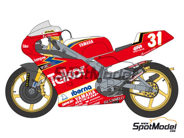 Image 1: Yamaha TZ250M Telkor - Motorcycle World Championship 1993 | Marking / livery in 1/12 scale manufactured by Shunko Models (ref. SHK-D251)