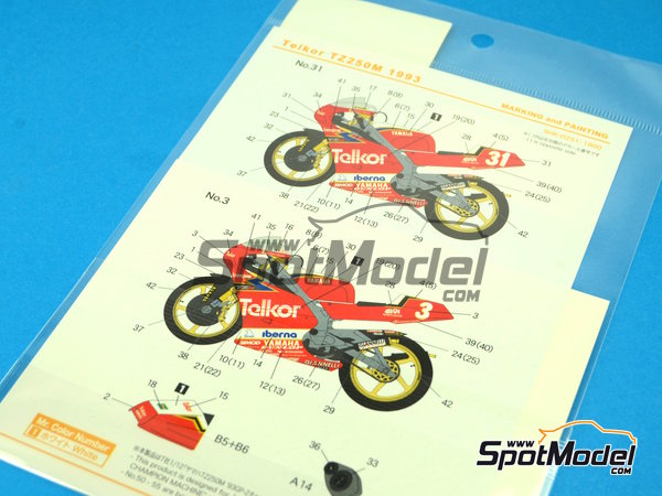 Image 7: Yamaha TZ250M Telkor - Motorcycle World Championship 1993 | Marking / livery in 1/12 scale manufactured by Shunko Models (ref. SHK-D251)
