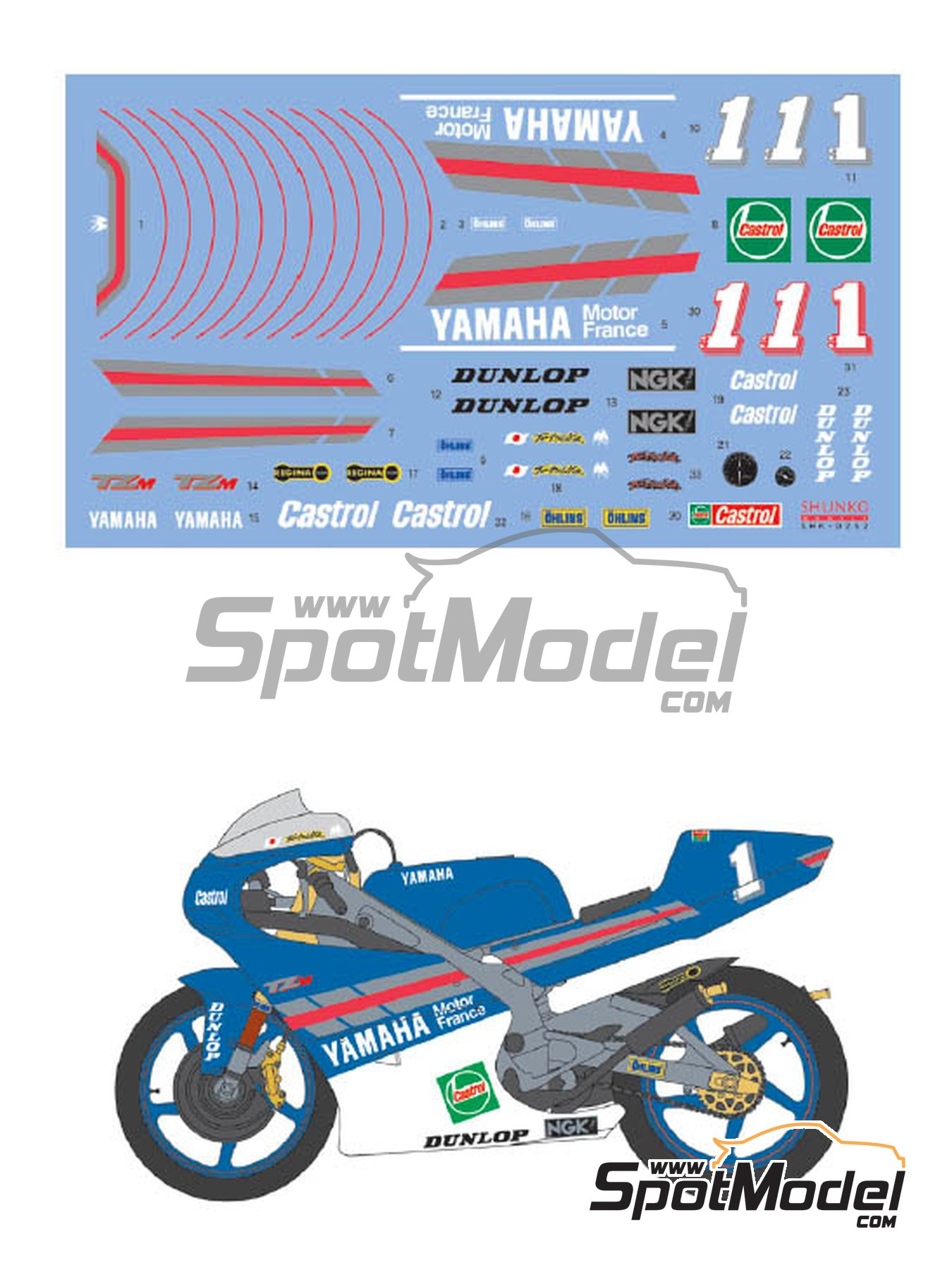 Yamaha TZ250M Castrol -  1994 | Marking / livery in 1/12 scale manufactured by Shunko Models (ref.SHK-D252) image
