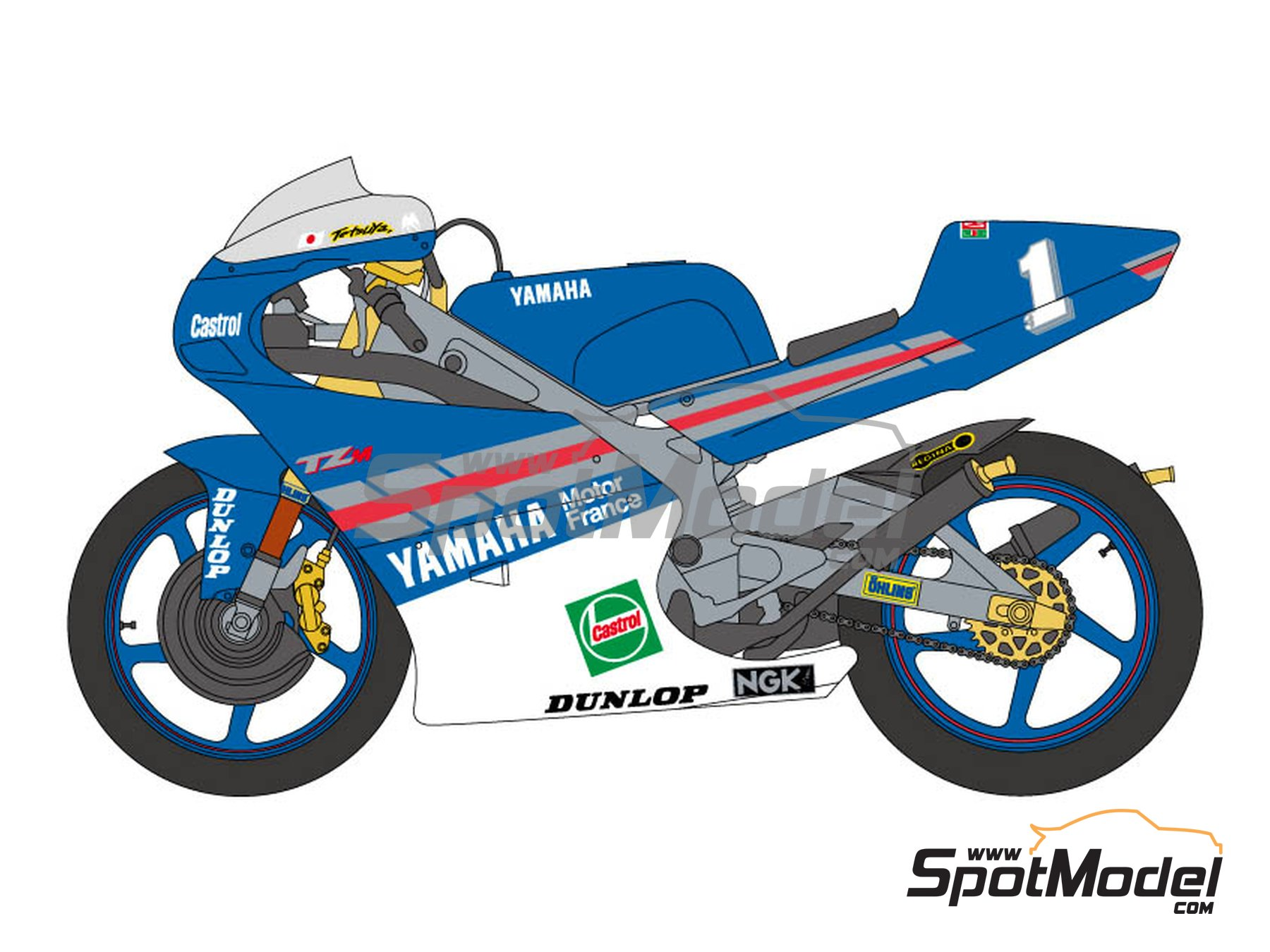 Image 1: Yamaha TZ250M Castrol -  1994 | Marking / livery in 1/12 scale manufactured by Shunko Models (ref. SHK-D252)