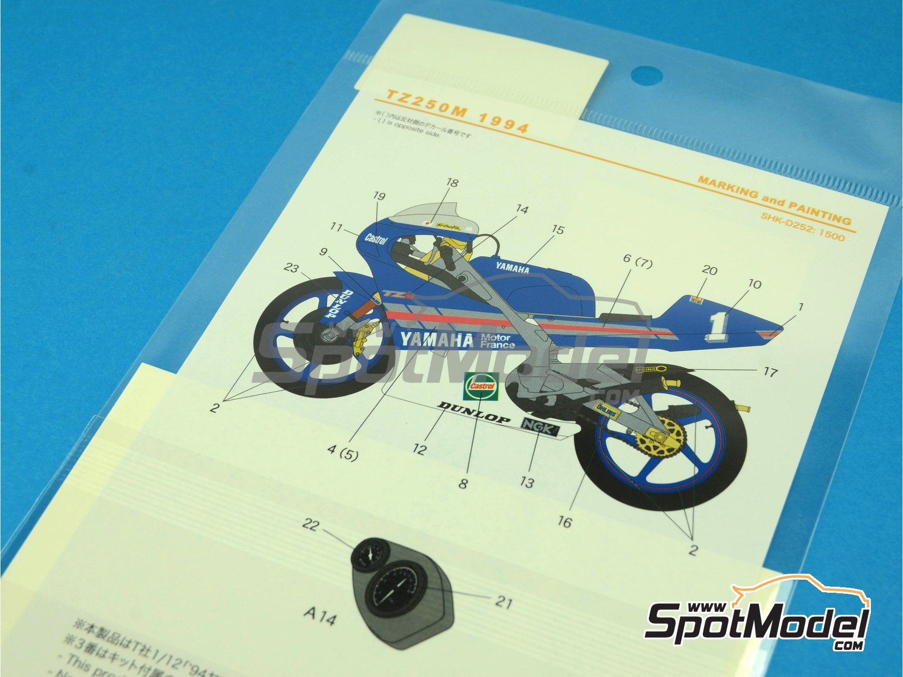 Image 3: Yamaha TZ250M Castrol -  1994 | Marking / livery in 1/12 scale manufactured by Shunko Models (ref.SHK-D252)
