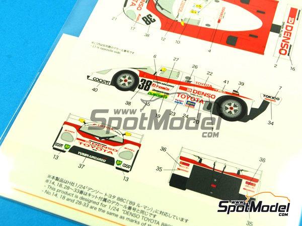Image 8: Toyota 88C Denso - 24 Horas de Le Mans 1989 | Decoración en escala1/24 fabricado por Shunko Models (ref.SHK-D254)