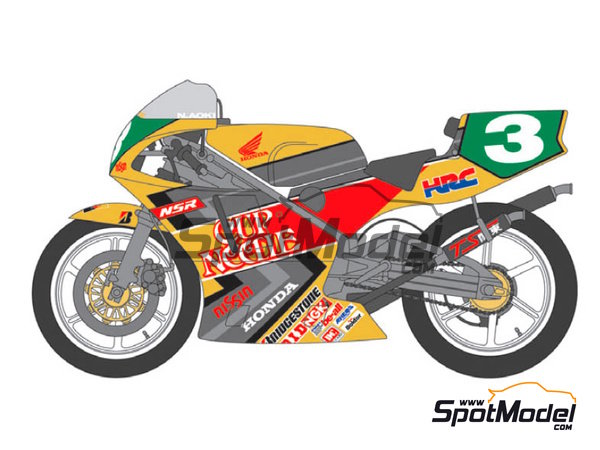 Image 1: Honda NSR250 - Motorcycle World Championship 1992 | Marking / livery in 1/12 scale manufactured by Shunko Models (ref. SHK-D256)