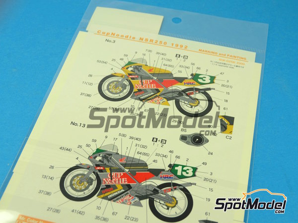 Image 9: Honda NSR250 - Motorcycle World Championship 1992 | Marking / livery in 1/12 scale manufactured by Shunko Models (ref. SHK-D256)