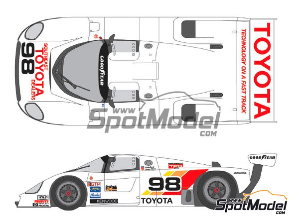 Image 1: Toyota 88C Kenwood - IMSA 1989 | Marking / livery in 1/24 scale manufactured by Shunko Models (ref. SHK-D258)