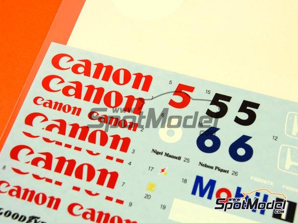 Image 4: Williams Honda FW11 Canon Mobil1 - Campeonato del Mundo de Formula1 1986 | Decoración en escala1/20 fabricado por Shunko Models (ref.SHK-D262)