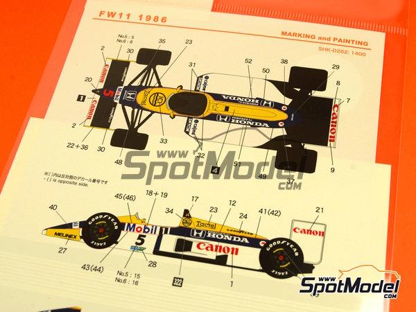 Image 6: Williams Honda FW11 Canon Mobil1 - Campeonato del Mundo de Formula1 1986 | Decoración en escala1/20 fabricado por Shunko Models (ref.SHK-D262)