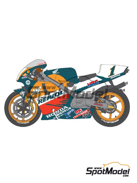 Honda NSR500 Repsol - Motorcycle World Championship 1998 | Marking / livery in 1/12 scale manufactured by Shunko Models (ref. SHK-D277) image
