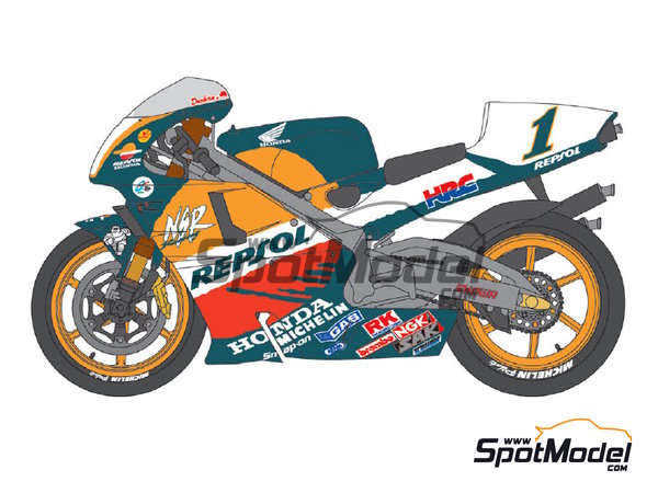 Image 1: Honda NSR500 Repsol - Motorcycle World Championship 1998 | Marking / livery in 1/12 scale manufactured by Shunko Models (ref.SHK-D277)