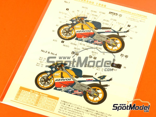 Image 2: Honda NSR500 Repsol - Motorcycle World Championship 1998 | Marking / livery in 1/12 scale manufactured by Shunko Models (ref.SHK-D277)