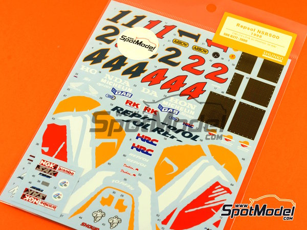 Image 7: Honda NSR500 Repsol - Motorcycle World Championship 1998 | Marking / livery in 1/12 scale manufactured by Shunko Models (ref.SHK-D277)