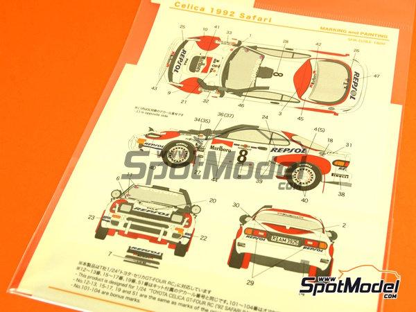 Image 2: Toyota Celica GT-Four WRC - Rally Safari 1992 | Decoración en escala1/24 fabricado por Shunko Models (ref.SHK-D283)