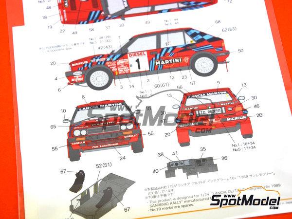 Image 8: Lancia Delta HF Integrale 16v - Rally de San Remo | Decoración en escala1/24 fabricado por Shunko Models (ref.SHK-D284)