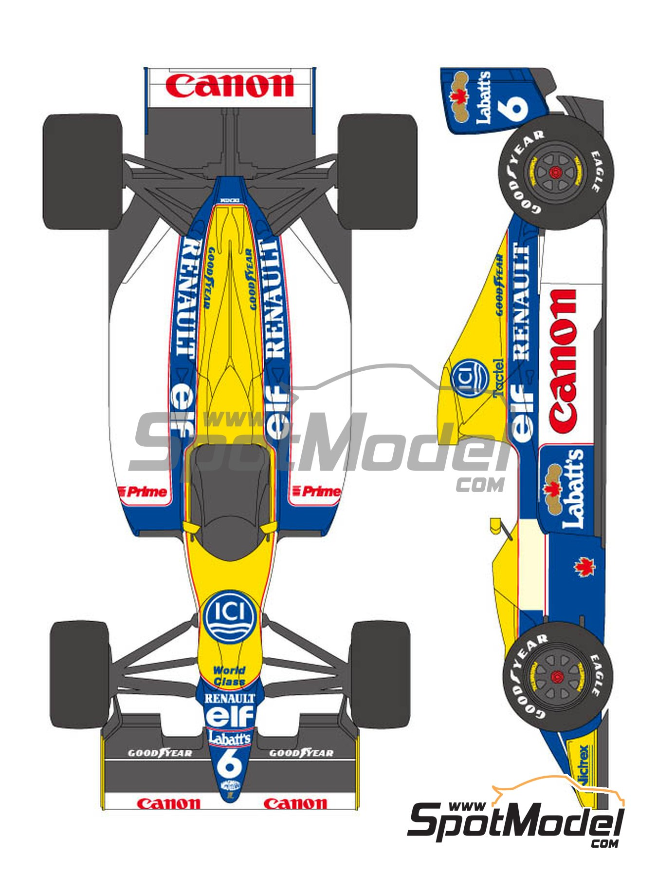 Williams Renault FW13B Canon - FIA Formula 1 World Championship 1990 | Marking / livery in 1/20 scale manufactured by Shunko Models (ref.SHK-D287) image