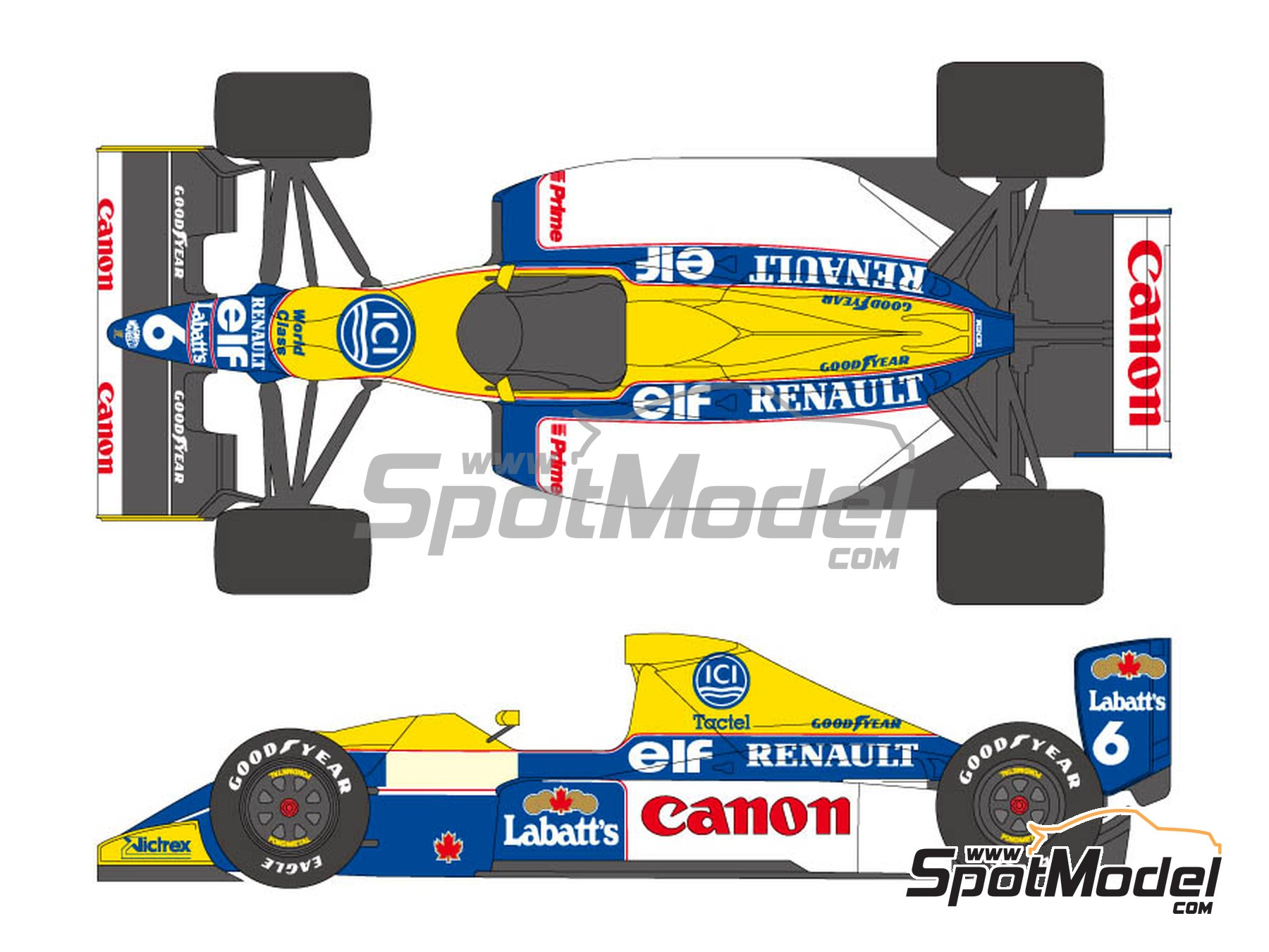 Image 1: Williams Renault FW13B Canon - FIA Formula 1 World Championship 1990 | Marking / livery in 1/20 scale manufactured by Shunko Models (ref.SHK-D287)