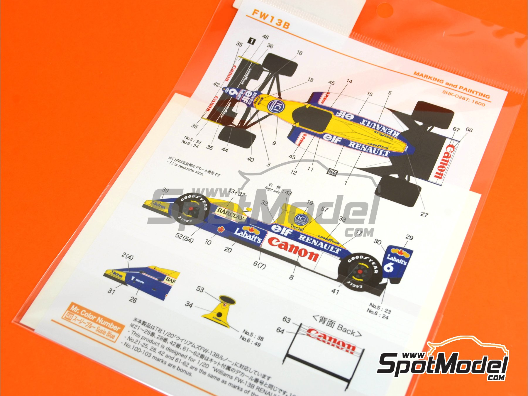 Image 2: Williams Renault FW13B Canon - FIA Formula 1 World Championship 1990 | Marking / livery in 1/20 scale manufactured by Shunko Models (ref.SHK-D287)