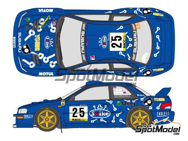 Image 1: Subaru Impreza WRC Spike - Rally de Cataluña Costa Dorada RACC 2000   Calcas de agua en escala1/24 fabricado por Shunko Models (ref.SHK-D291)