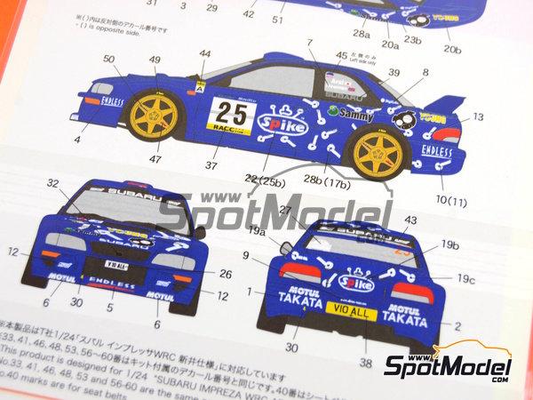 Image 9: Subaru Impreza WRC Spike - Rally de Cataluña Costa Dorada RACC 2000   Calcas de agua en escala1/24 fabricado por Shunko Models (ref.SHK-D291)