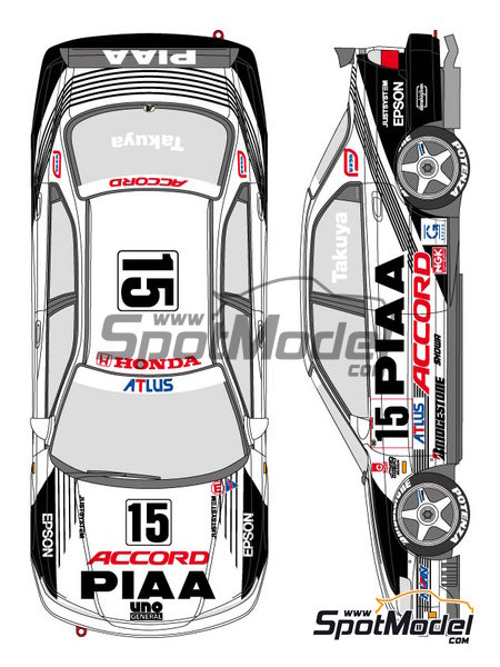Honda Accord Vtec PIAA - Japan Touring Car Championship (JTCC) 1996 | Marking / livery in 1/24 scale manufactured by Shunko Models (ref. SHK-D296) image