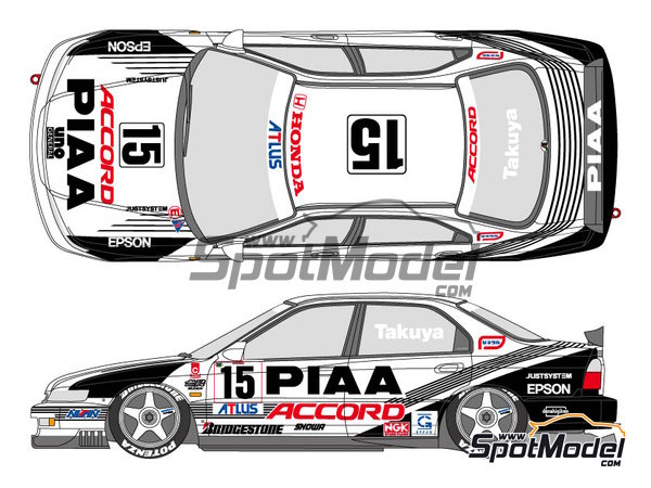 Image 1: Honda Accord Vtec PIAA - Japan Touring Car Championship (JTCC) 1996 | Marking / livery in 1/24 scale manufactured by Shunko Models (ref. SHK-D296)