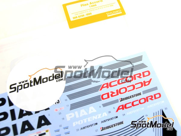 Image 6: Honda Accord Vtec PIAA - Japan Touring Car Championship (JTCC) 1996 | Marking / livery in 1/24 scale manufactured by Shunko Models (ref. SHK-D296)