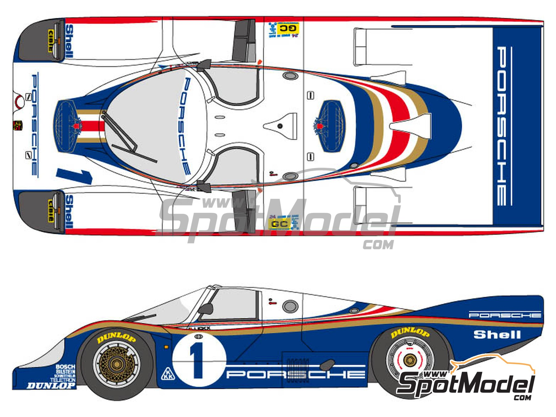 Image 1: Porsche 956 Rothmans - 24 Hours Le Mans 1982 | Marking / livery in 1/24 scale manufactured by Shunko Models (ref.SHK-D299)