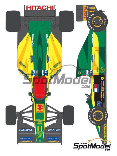 Lotus Ford Type 102D Hitachi - Campeonato del Mundo de Formula1 1992 | Decoración en escala1/20 fabricado por Shunko Models (ref.SHK-D303) image