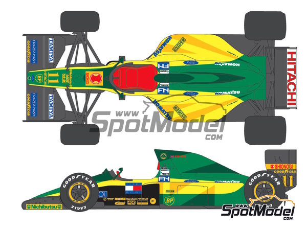 Image 1: Lotus Ford Type 102D Hitachi - FIA Formula 1 World Championship 1992 | Marking / livery in 1/20 scale manufactured by Shunko Models (ref.SHK-D303)