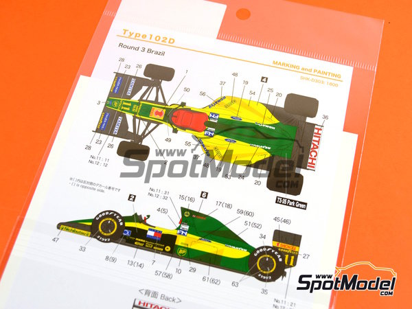 Image 6: Lotus Ford Type 102D Hitachi - FIA Formula 1 World Championship 1992 | Marking / livery in 1/20 scale manufactured by Shunko Models (ref.SHK-D303)